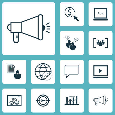 Set Of Marketing Icons On Digital Media, Questionnaire And Conference Topics. Editable Vector Illustration. Includes Client, Website, Pay And More Vector Icons.