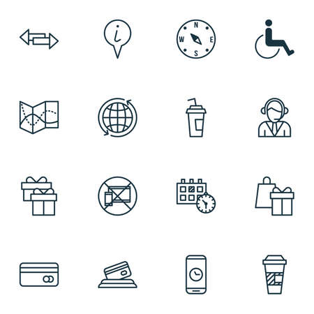 Set Of Travel Icons On Shopping, Credit Card And Plastic Card Topics. Editable Vector Illustration. Includes Coffee, Holiday, Paper And More Vector Icons.
