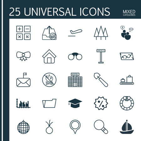 Set Of 25 Universal Editable Icons. Can Be Used For Web, Mobile And App Design. Includes Elements Such As Graph Collection, Dance Club, Airplane Information And More.