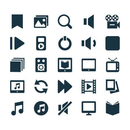 Music Icons Set. Collection Of Album, Pause, Palmtop And Other Elements. Also Includes Symbols Such As Palmtop, Video, Search.