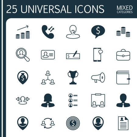 Management Icons Set. Collection Of Location, Hierarchy, Female Pin And Other Elements
