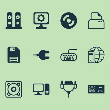 Computer Icons Set  Collection Of Computer Keypad, Vga Cord