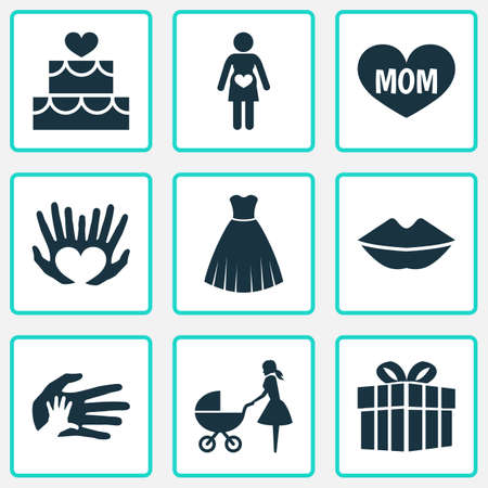 Mothers day icon design concept. Set of 9 such elements as perambulator, hands, palms. Beautiful symbols for heart, palm and hand.