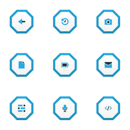 Interface icons colored set with dashboard, camera, file and other deadline  elements. Isolated  illustration interface icons.