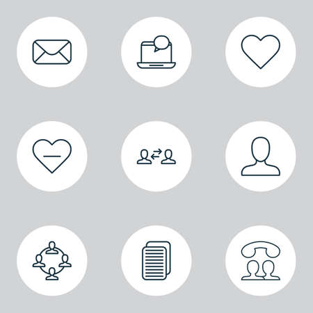 Social icons set with user interaction, member, webpage and other message elements. Isolated vector illustration social icons.