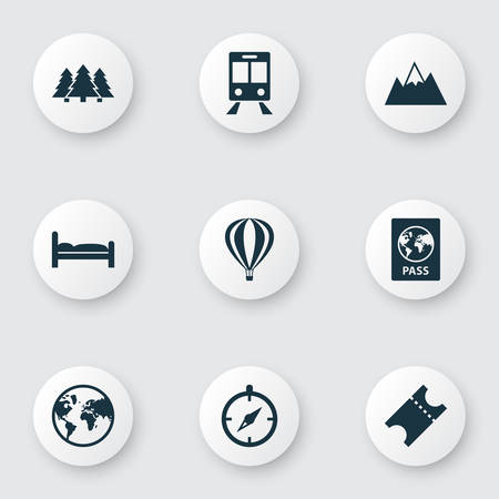 Journey icons set with forest, ticket, air balloon and other guide  elements. Isolated vector illustration journey icons.