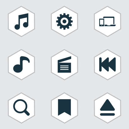 Multimedia icons set with previous, movie clap, gadget and other top  elements. Isolated  illustration multimedia icons.