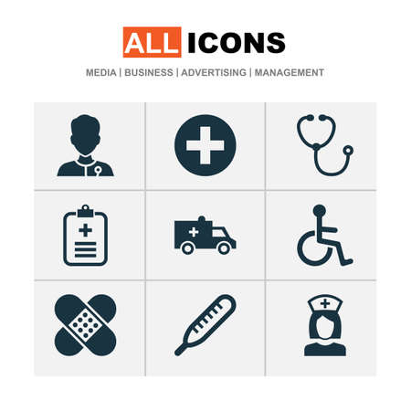 Medicine icons set with brougham, medic, data and other bandage  elements. Isolated  illustration medicine icons.