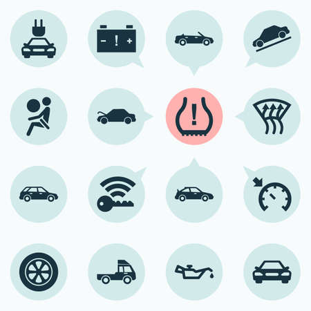 Illustration for Auto icons set with cabriolet, station wagon, truck and other crossover  elements. Isolated vector illustration auto icons. - Royalty Free Image