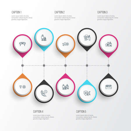 Illustration pour Travel icons line style set with cancelled flight, passenger at registration, registration board and other no travel insurance  elements. Isolated vector illustration travel icons. - image libre de droit