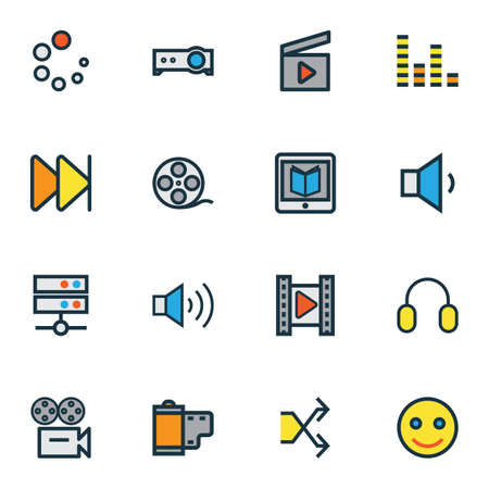 Illustration pour Multimedia icons colored line set with megaphone, film reel, headphone and other video  elements. Isolated vector illustration multimedia icons. - image libre de droit