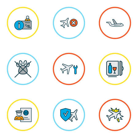 Ilustración de Travel icons colored line set with cancelled flight, aircraft, travel insurance and other airplane repair  elements. Isolated vector illustration travel icons. - Imagen libre de derechos
