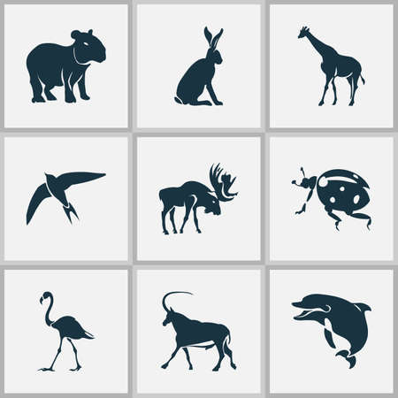 Illustration pour Fauna icons set with capybara, moose, ladybird and other gazelle  elements. Isolated vector illustration fauna icons. - image libre de droit