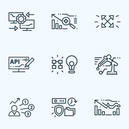 Tech icons line style set with reverse engineering, forecasting model, user predictions and other storage