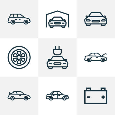 Foto de Automobile icons line style set with hood, battery, tie and other wheel   elements. Isolated  illustration automobile icons. - Imagen libre de derechos