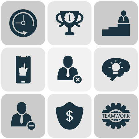 Foto für Work icons set with man on top, team communication, protection and other delete user elements. Isolated vector illustration work icons. - Lizenzfreies Bild