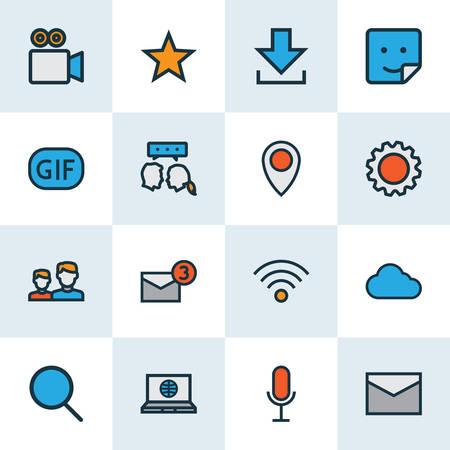 Illustration pour Social icons colored line set with settings, location, cloud and other animation elements. Isolated vector illustration social icons. - image libre de droit