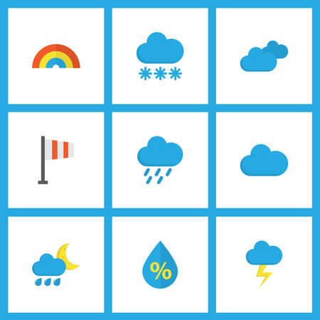 Illustration pour Weather icons flat style set with hail, cloudy, flag and other cloud elements. Isolated vector illustration weather icons. - image libre de droit
