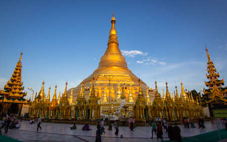 Photo for YANGON, MYANMAR - MAY 17, 2018 : Beautiful sunlight at Shwedagon Pagoda,Yangon, Myanmar. - Royalty Free Image