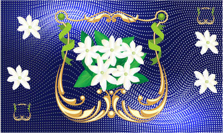 Illustration for jasmine flower in golden frame on blue abstract background - Royalty Free Image