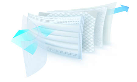 Photo pour three layer mask internal view to stop dust and germs particle - image libre de droit