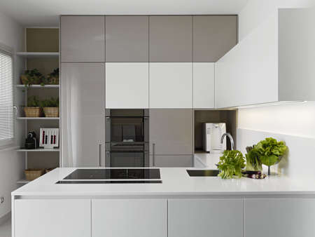 modern kitchen with vgetables on the white worktop