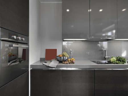 detail of modern kitchen with fresh fruits