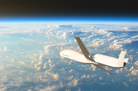 Photo pour Unmanned aircraft flying in the upper atmosphere, the study of the gas shells of the planet Earth. - image libre de droit