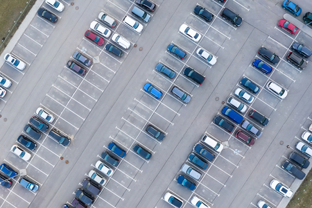 Photo pour Aerial view from above - car parking in a residential area of the city - image libre de droit