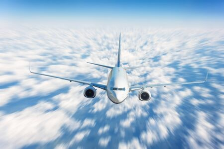 Photo for Traveling fly by airplane above the clouds, high speed motion blur effect - Royalty Free Image