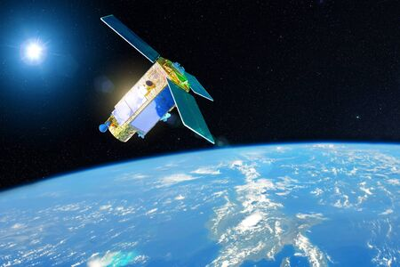 Foto de Satellite for studying the atmosphere and hydrosphere in the low orbit of planet Earth. - Imagen libre de derechos