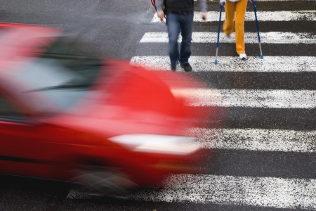Photo for car withh pedestrian - Royalty Free Image