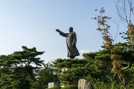 Kim gu statue in Baekbeom square in seoul south korea near namsan park area.