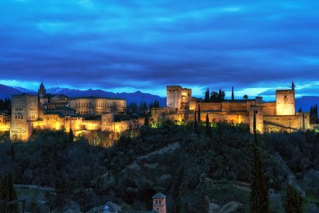 Alhambra palace night view from mirador de san nicolas. Granada, Spain