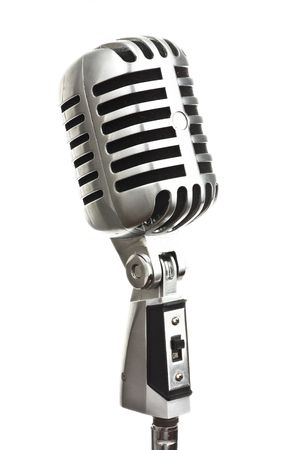 vintage metal microphone on white background