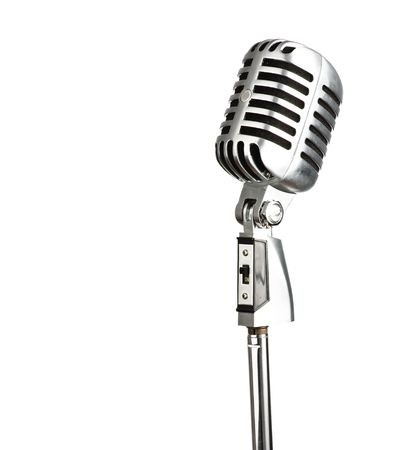 metal vintage microphone on white background