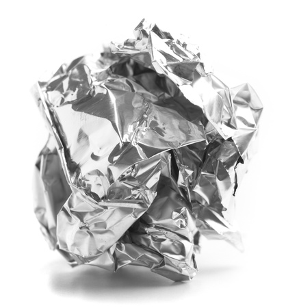 aluminum paper ball isolated on a white background