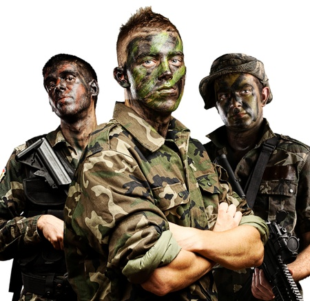 portrait of soldiers group with jungle camouflage over white