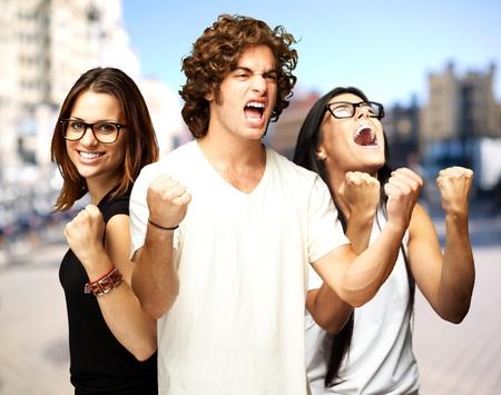 young people enjoying at city