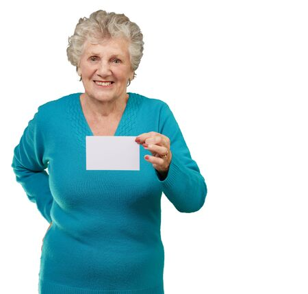 Photo for Portrait Of A Woman Holding Blank Paper On White Background - Royalty Free Image