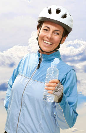 Portrait Of Cyclist Middle Aged Woman, Outdoor