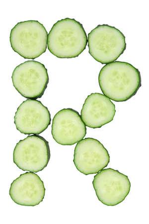 Vegetable Alphabet of chopped cucumber  - letter R