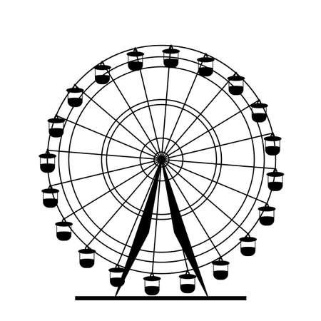 Silhouette atraktsion colorful ferris wheel. Vector  illustration.