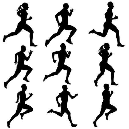 running women silhouettes illustration.