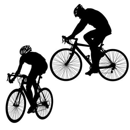 Illustration pour Set silhouette of a cyclist male on white background. - image libre de droit