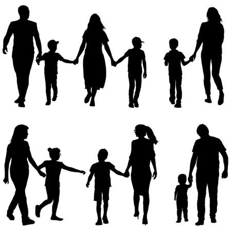 Illustration for Set silhouette of happy family on a white background. - Royalty Free Image