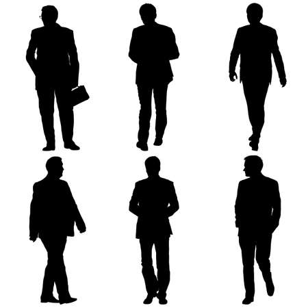 Illustration for Set silhouette businessman man in suit on a white background. - Royalty Free Image