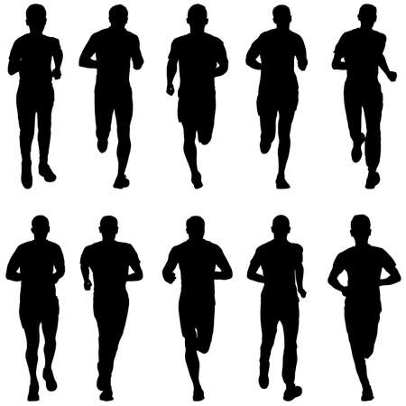 Illustration for Set of silhouettes. Runners on sprint men. - Royalty Free Image