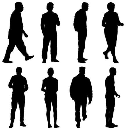 Illustration for Black silhouette group of people standing in various poses. - Royalty Free Image