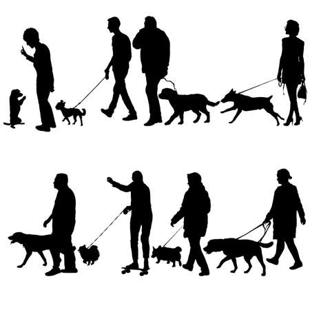 Illustration for Set silhouette of people and dog on a white background. - Royalty Free Image